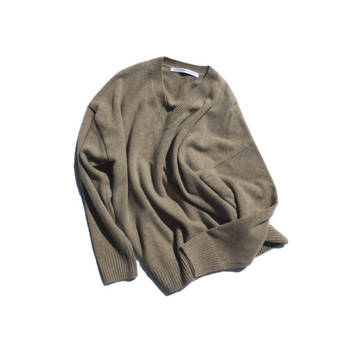cashmere v-neck knit / brown