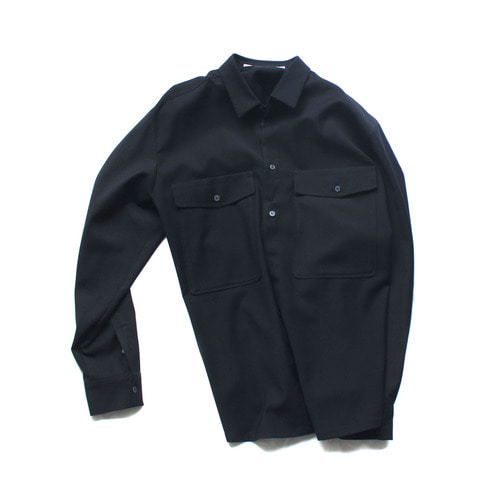 Patch pocket twill shirt / navy