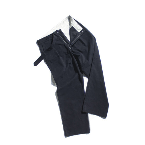 hidden belt wide trouser / navy