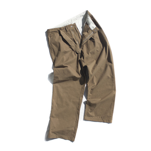 hidden belt wide trouser / brown